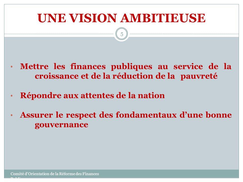 UNE VISION AMBITIEUSE Mettre les finances publiques au service de la croissance et de la réduction de la pauvreté.
