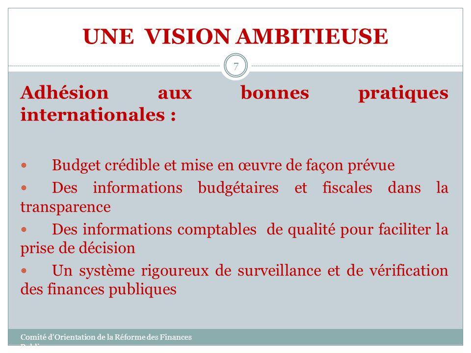 UNE VISION AMBITIEUSE Adhésion aux bonnes pratiques internationales :