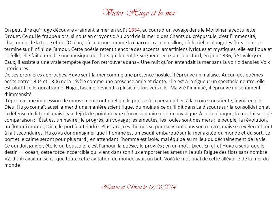 Victor Hugo et la mer Nanou et Stan le 02/04/2017