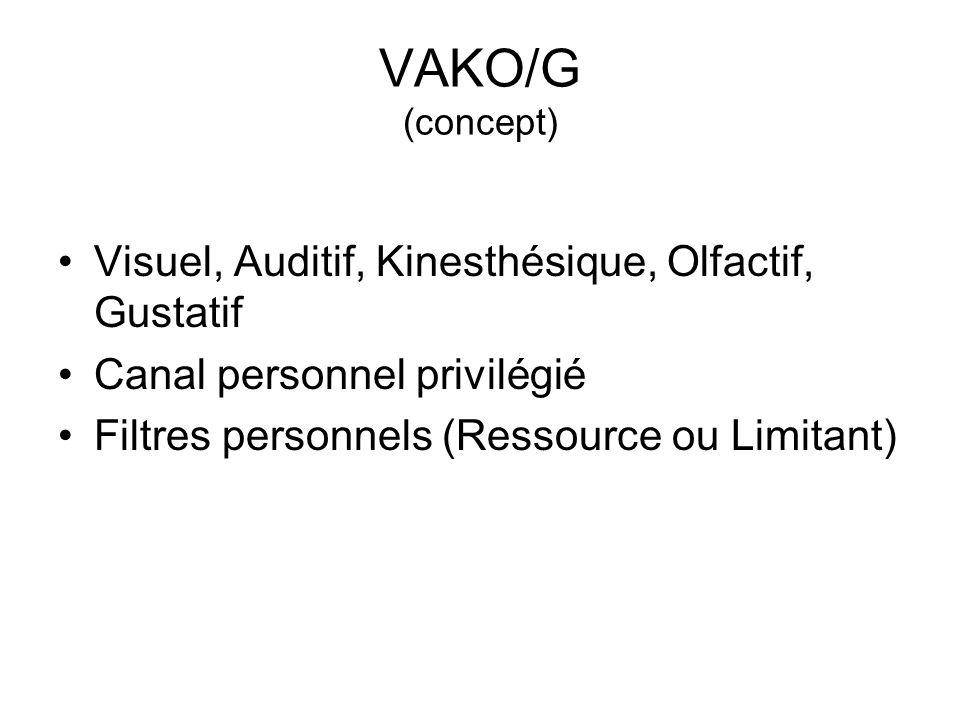 VAKO/G (concept) Visuel, Auditif, Kinesthésique, Olfactif, Gustatif