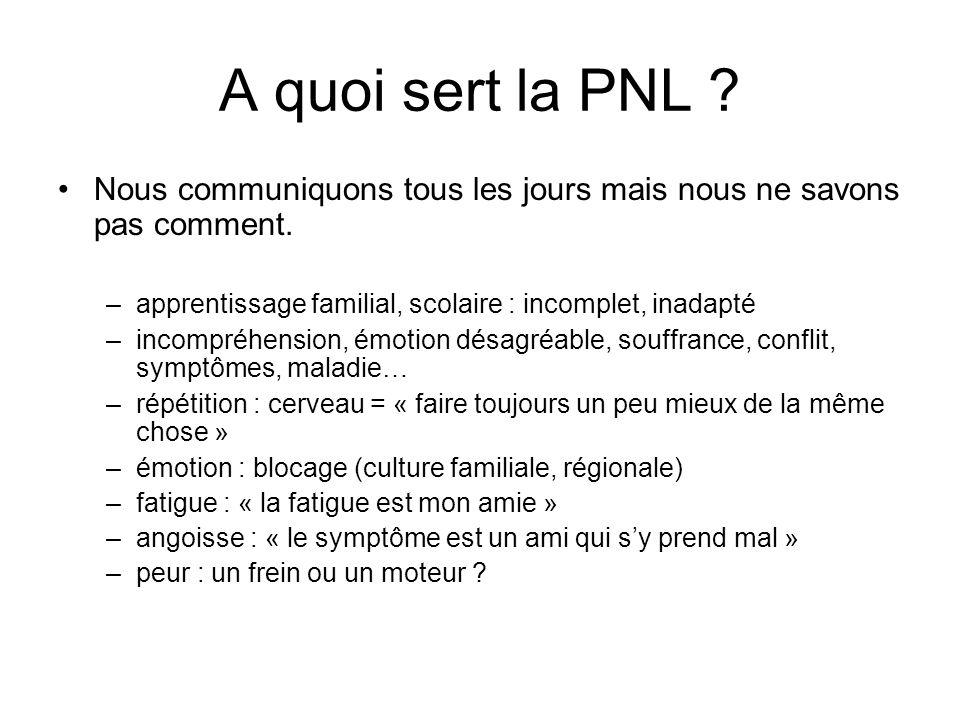 A quoi sert la PNL Nous communiquons tous les jours mais nous ne savons pas comment. apprentissage familial, scolaire : incomplet, inadapté.