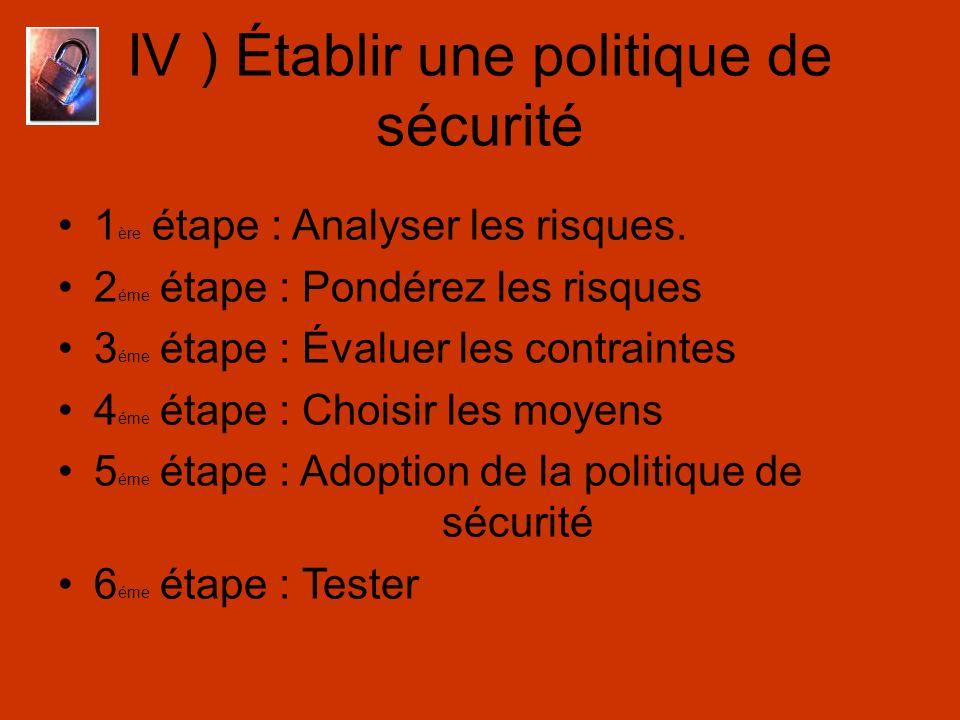 IV ) Établir une politique de sécurité