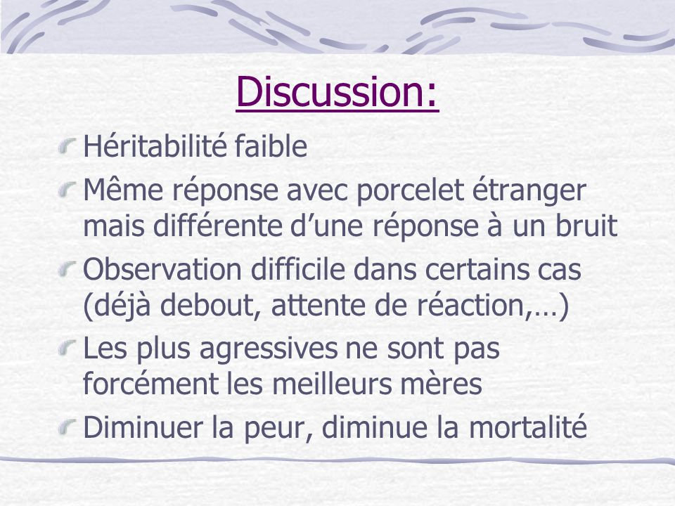 Discussion: Héritabilité faible