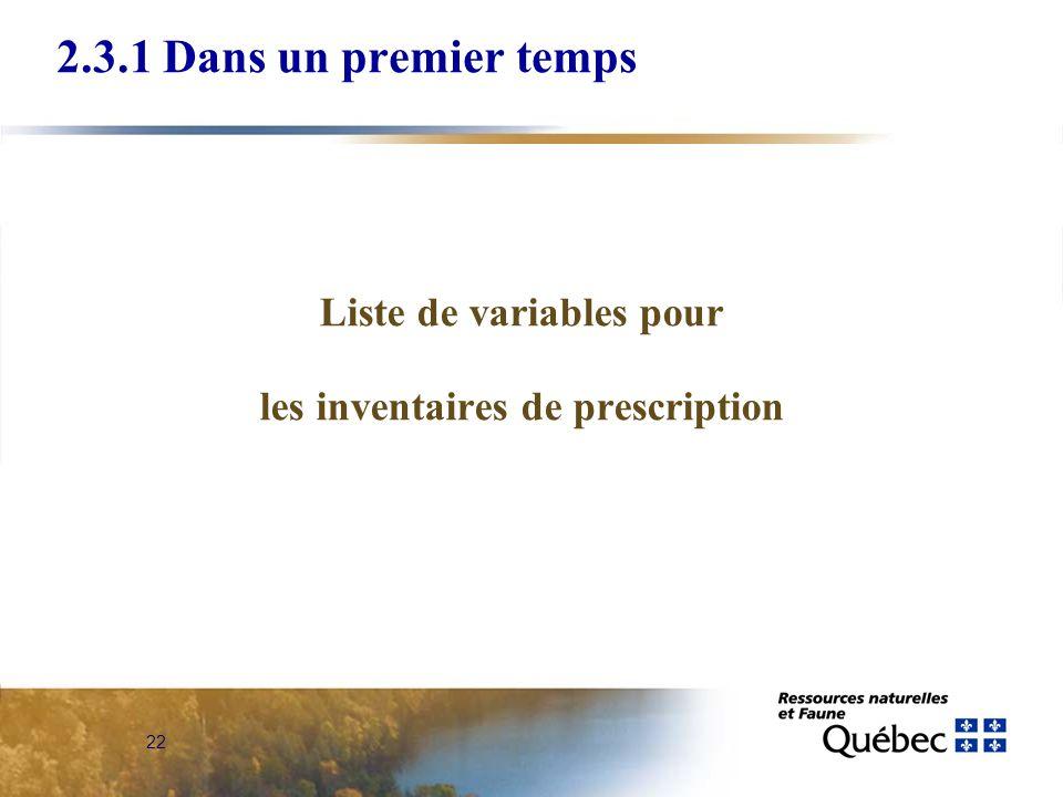 Liste de variables pour les inventaires de prescription