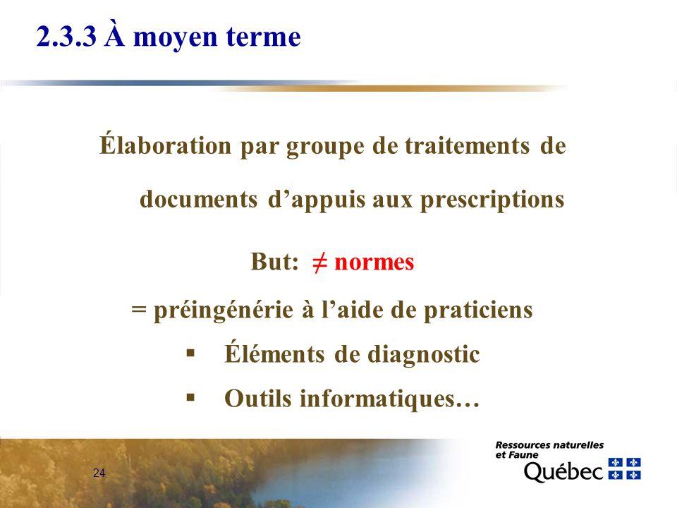 2.3.3 À moyen terme Élaboration par groupe de traitements de documents d'appuis aux prescriptions. But: ≠ normes.