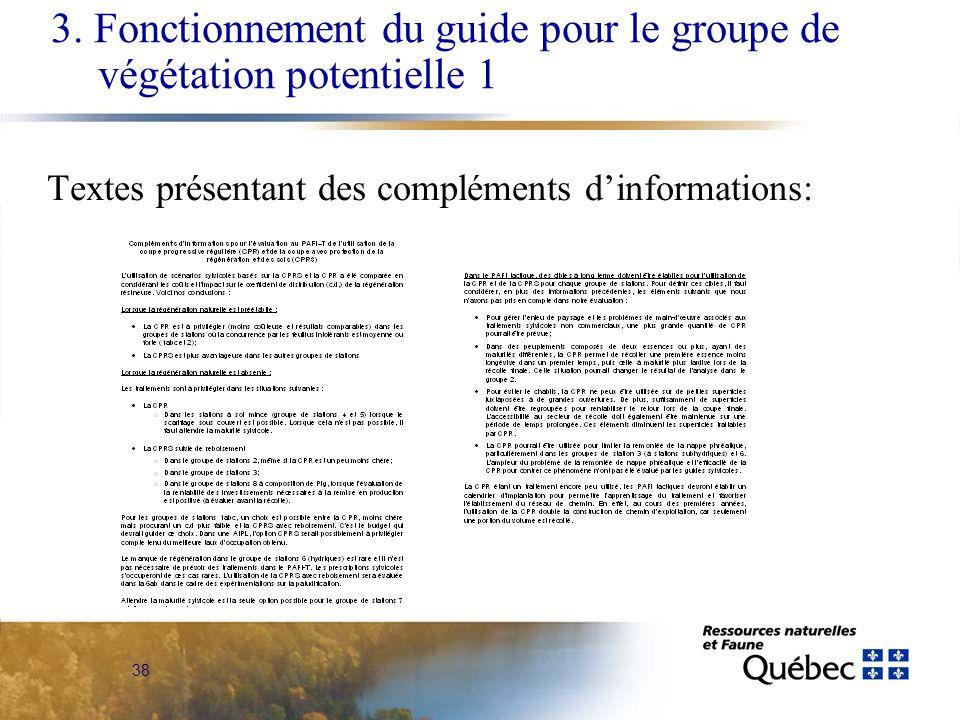 Textes présentant des compléments d'informations: