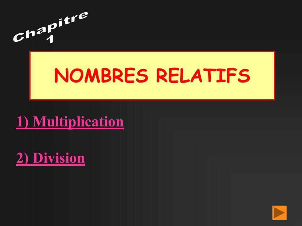 Chapitre 1 NOMBRES RELATIFS 1) Multiplication 2) Division
