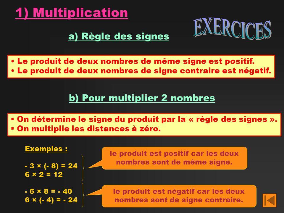 EXERCICES 1) Multiplication a) Règle des signes