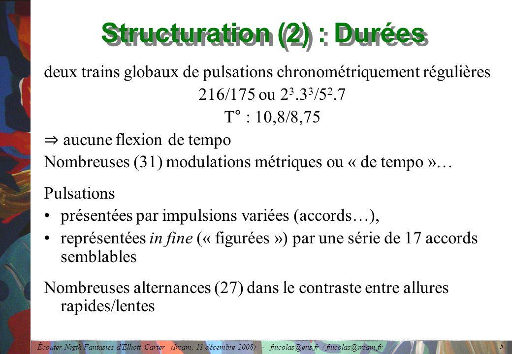 Structuration (2) : Durées