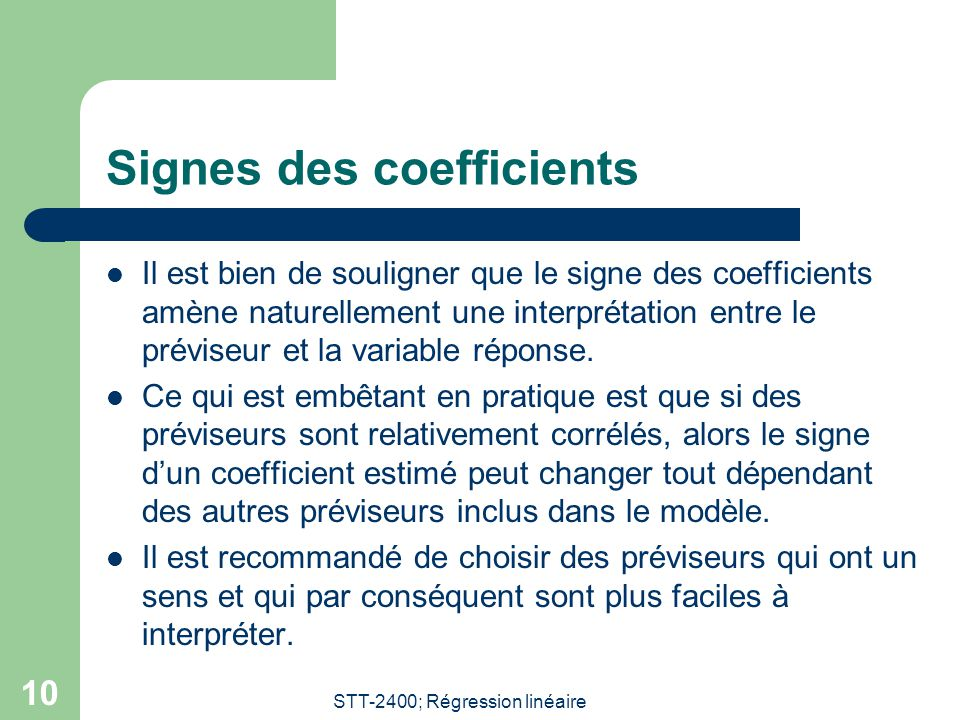 Signes des coefficients