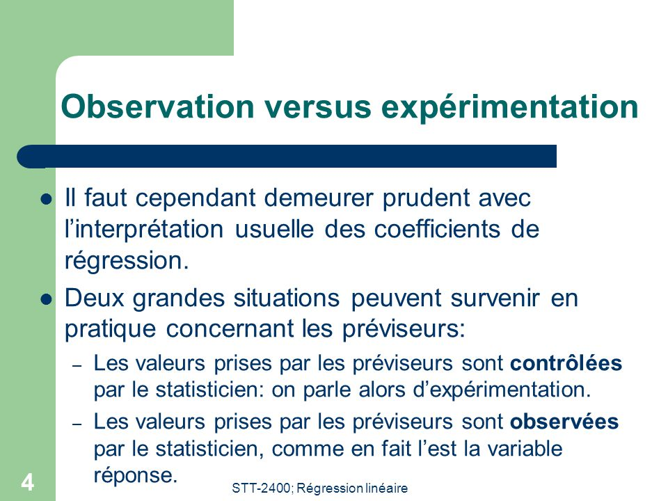Observation versus expérimentation