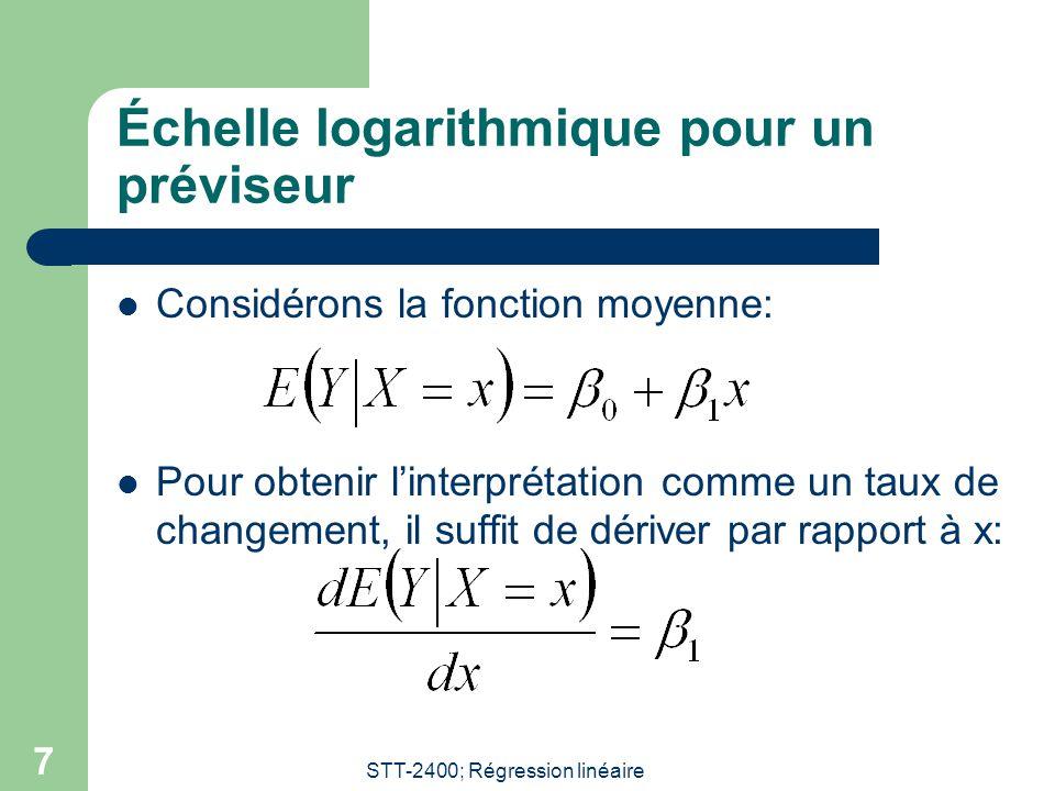 Échelle logarithmique pour un préviseur
