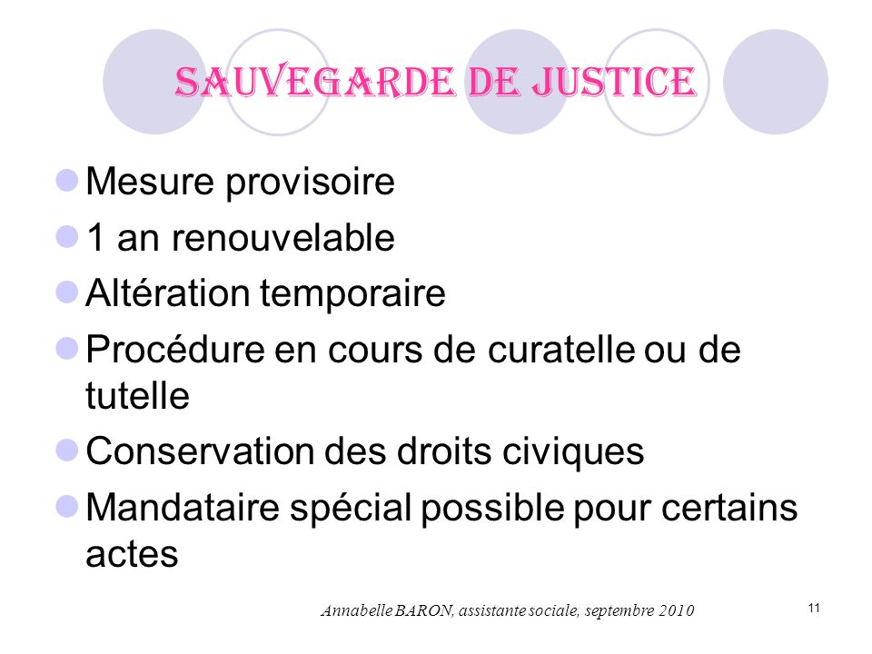 Sauvegarde de justice Mesure provisoire 1 an renouvelable