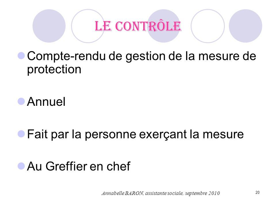Le contrôle Compte-rendu de gestion de la mesure de protection Annuel