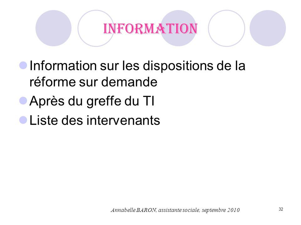 Information Information sur les dispositions de la réforme sur demande