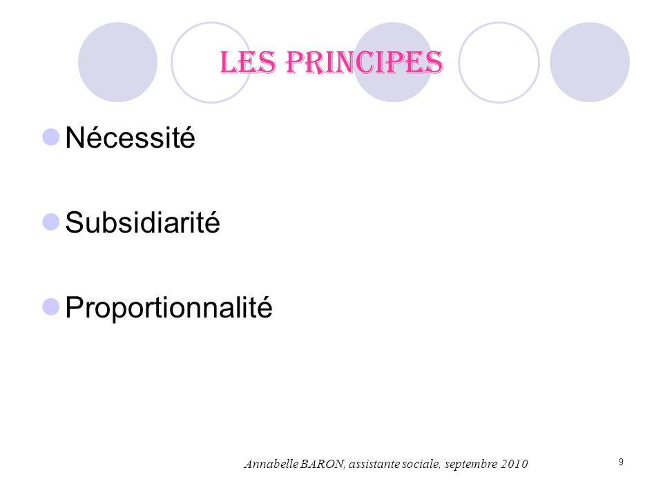 Les principes Nécessité Subsidiarité Proportionnalité