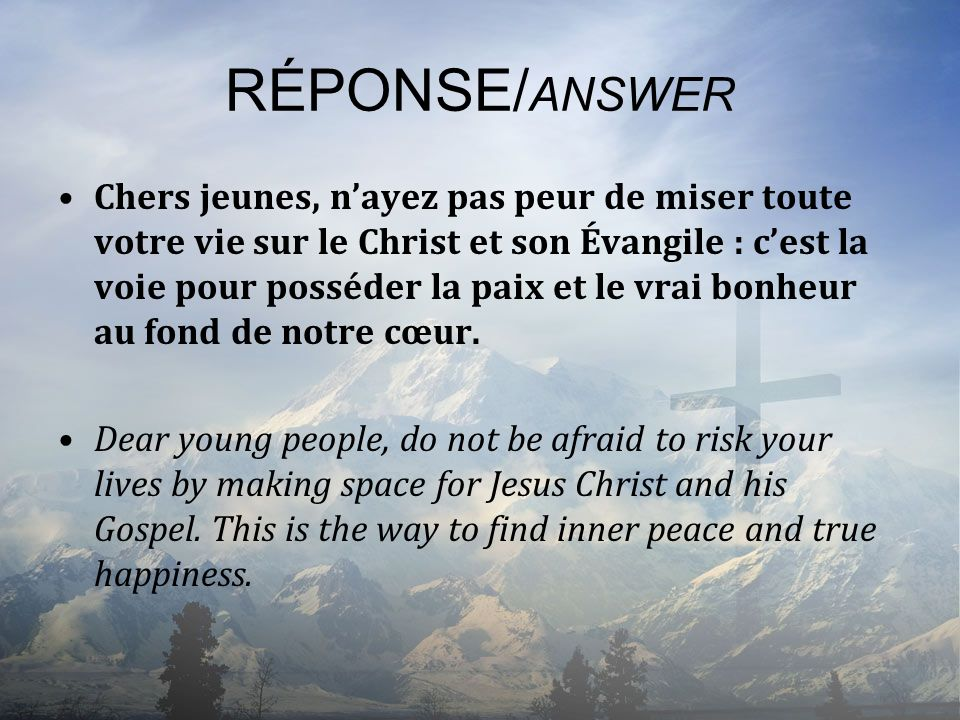 RÉPONSE/ANSWER