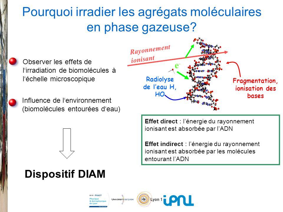 Pourquoi irradier les agrégats moléculaires en phase gazeuse