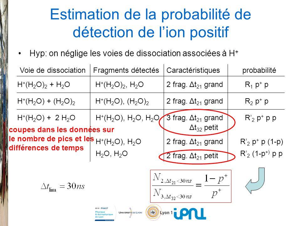Estimation de la probabilité de détection de l'ion positif