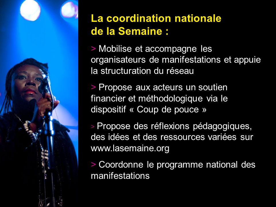 La coordination nationale de la Semaine :