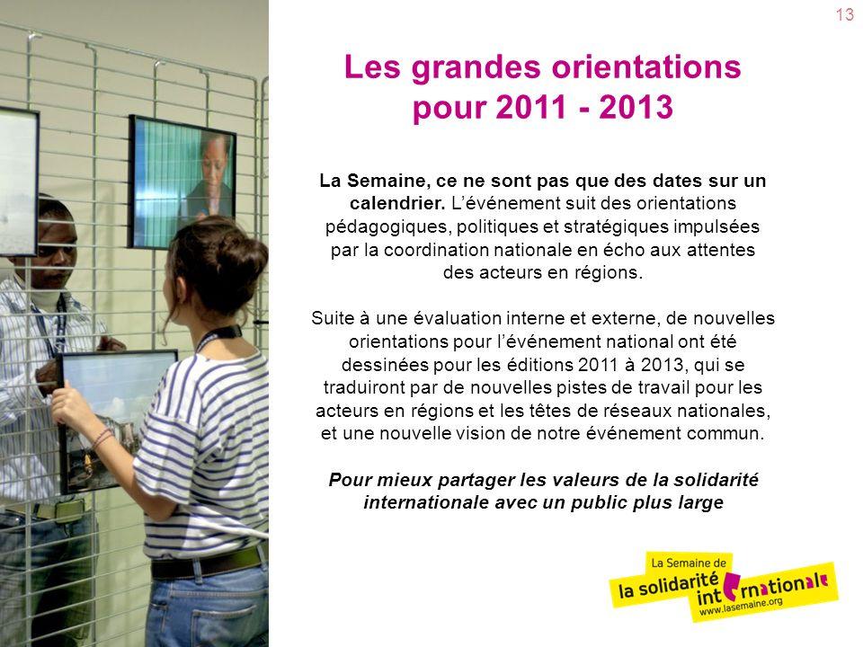 Les grandes orientations pour 2011 - 2013