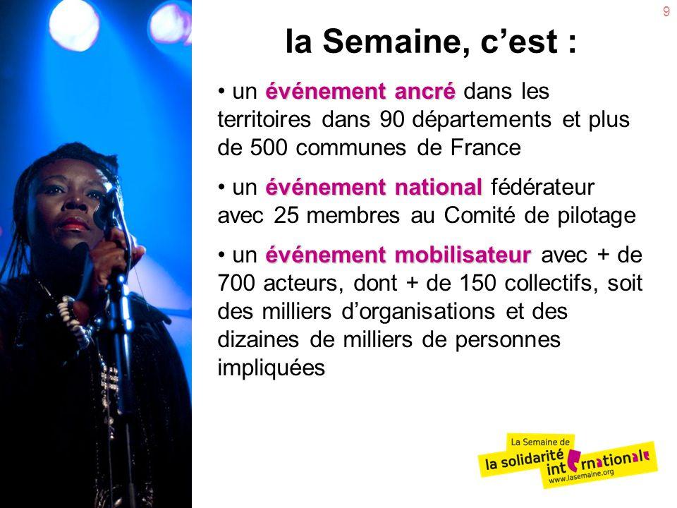 la Semaine, c'est : un événement ancré dans les territoires dans 90 départements et plus de 500 communes de France.