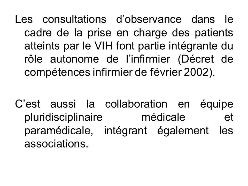 Les consultations d'observance dans le cadre de la prise en charge des patients atteints par le VIH font partie intégrante du rôle autonome de l'infirmier (Décret de compétences infirmier de février 2002).