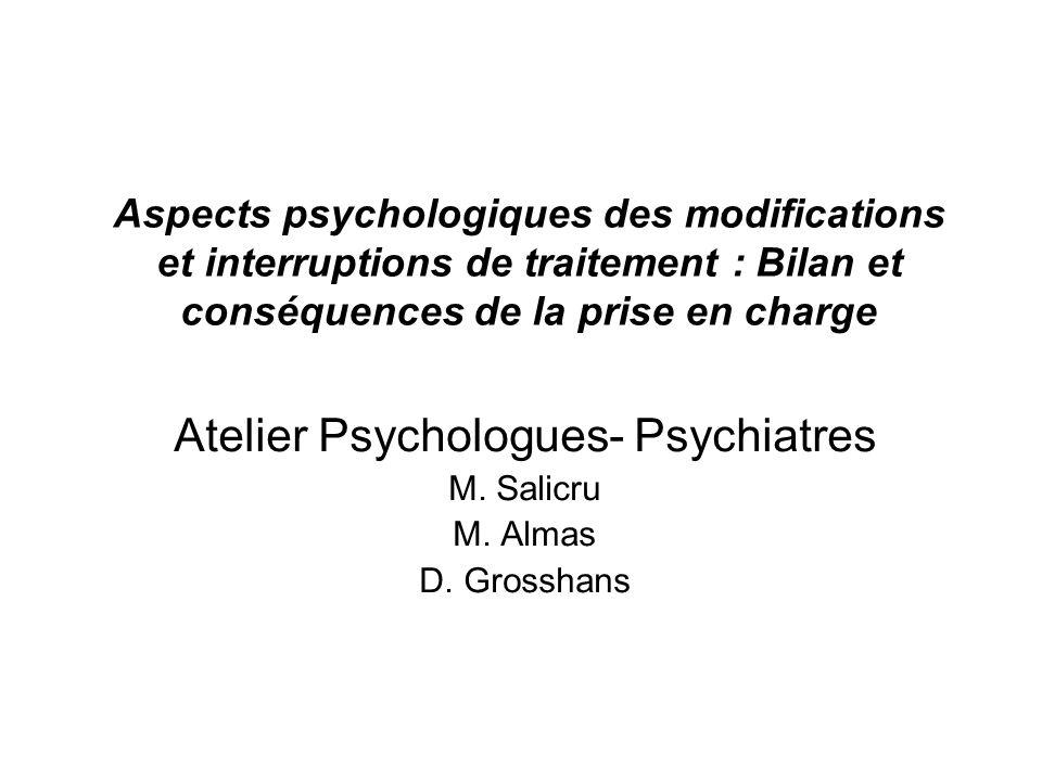 Atelier Psychologues- Psychiatres M. Salicru M. Almas D. Grosshans