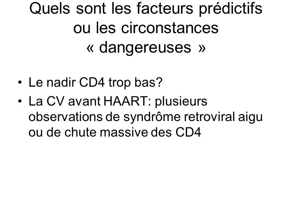 Quels sont les facteurs prédictifs ou les circonstances « dangereuses »