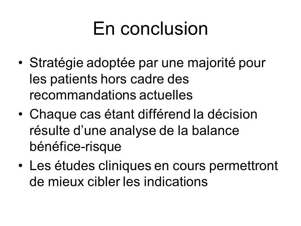 En conclusion Stratégie adoptée par une majorité pour les patients hors cadre des recommandations actuelles.