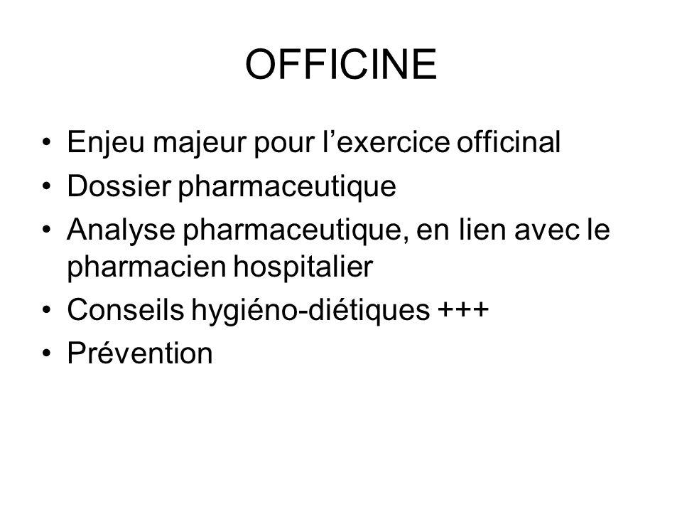 OFFICINE Enjeu majeur pour l'exercice officinal Dossier pharmaceutique