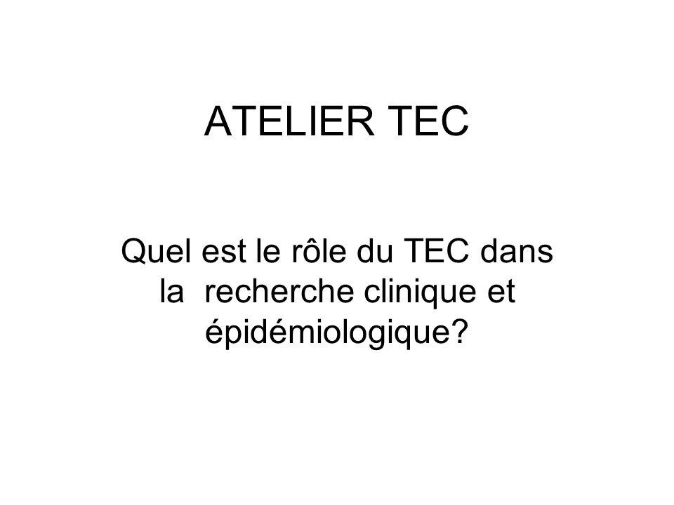 Quel est le rôle du TEC dans la recherche clinique et épidémiologique