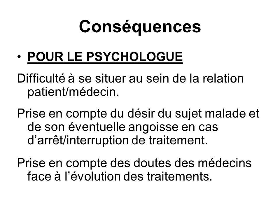 Conséquences POUR LE PSYCHOLOGUE