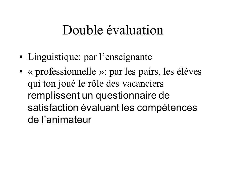 Double évaluation Linguistique: par l'enseignante
