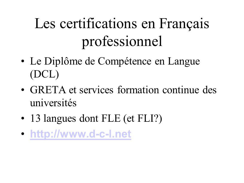 Les certifications en Français professionnel