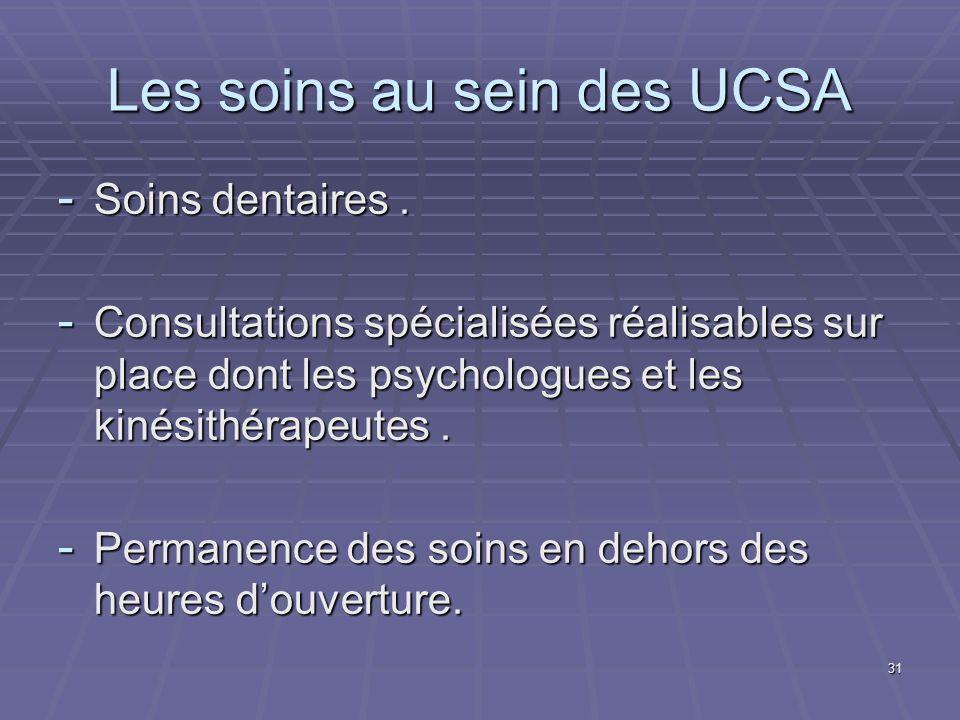Les soins au sein des UCSA