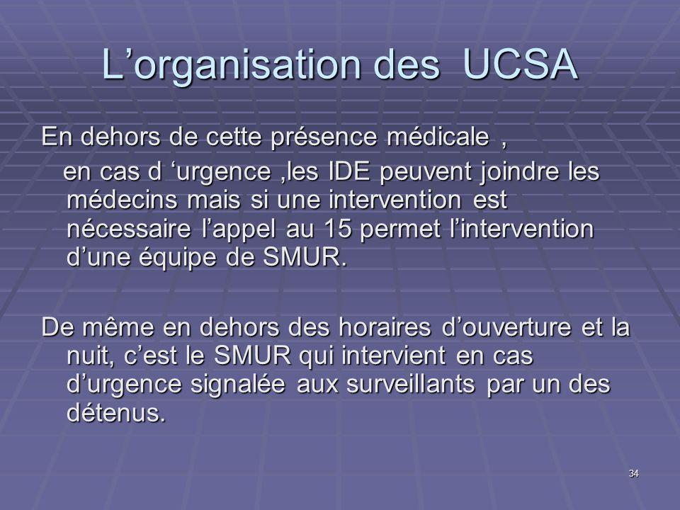 L'organisation des UCSA