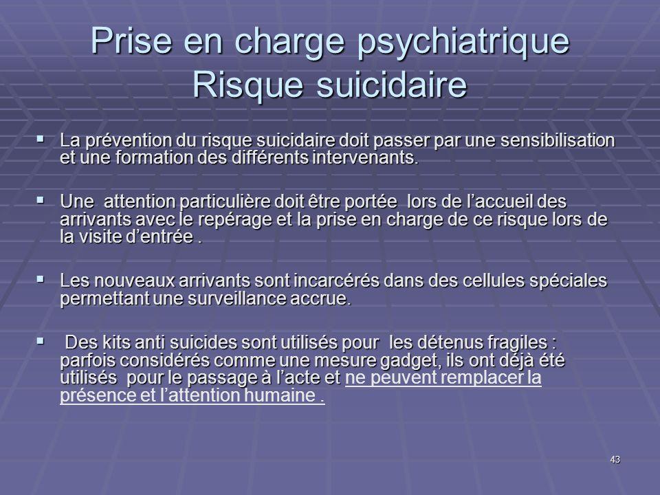Prise en charge psychiatrique Risque suicidaire