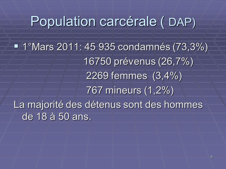 Population carcérale ( DAP)