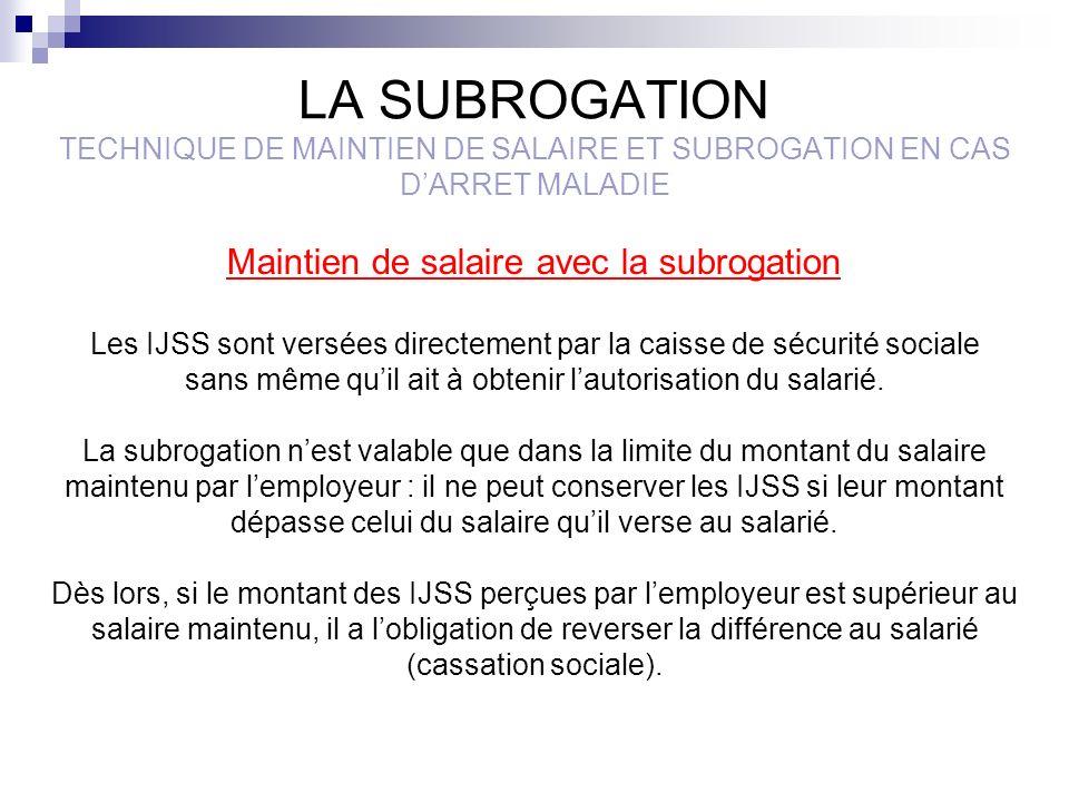 LA SUBROGATION TECHNIQUE DE MAINTIEN DE SALAIRE ET SUBROGATION EN CAS D'ARRET MALADIE