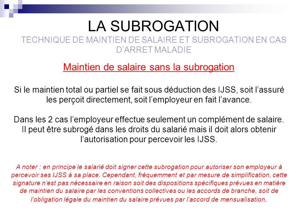 Maintien de salaire sans la subrogation