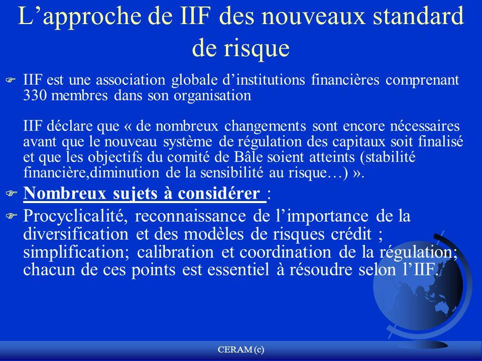 L'approche de IIF des nouveaux standard de risque