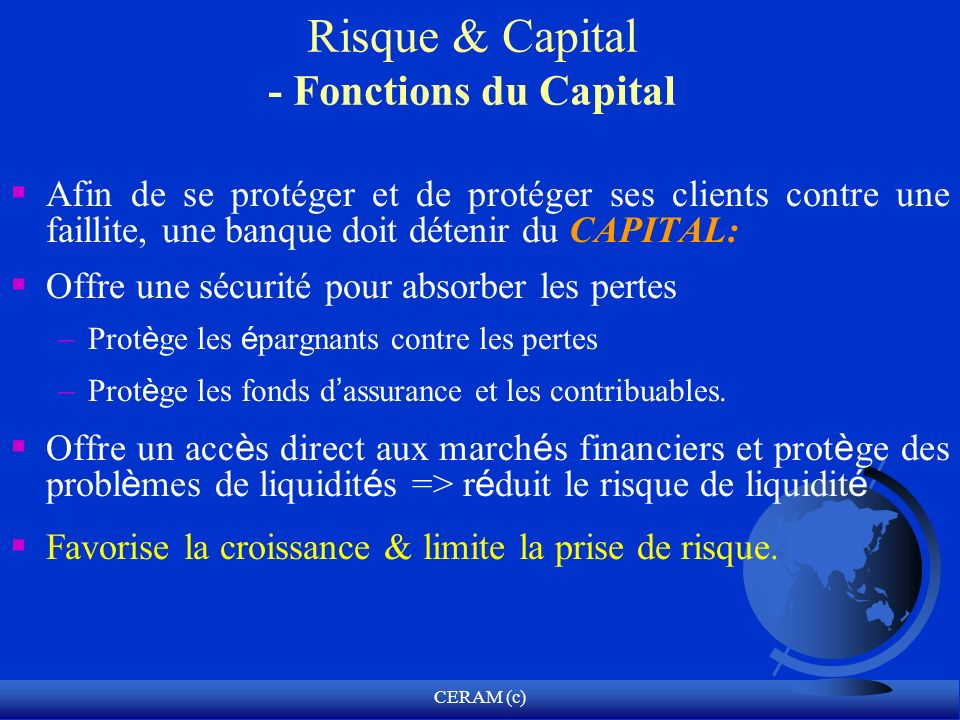 Risque & Capital - Fonctions du Capital