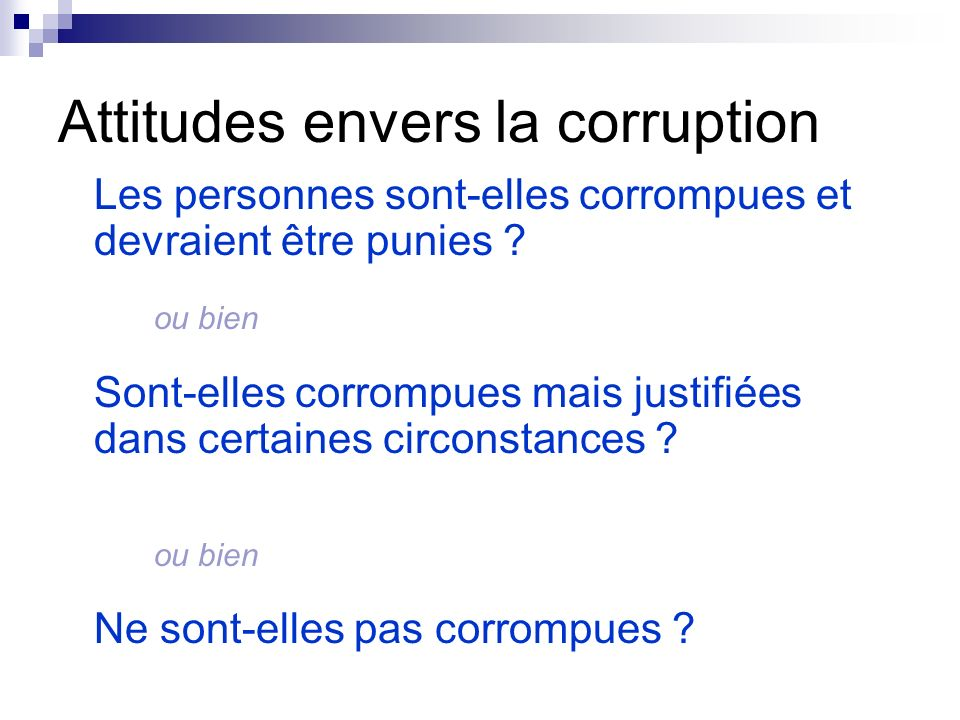 Attitudes envers la corruption