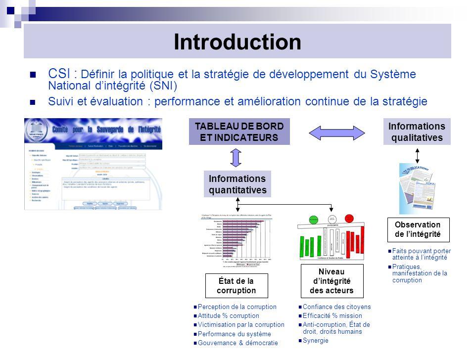 Introduction CSI : Définir la politique et la stratégie de développement du Système National d'intégrité (SNI)