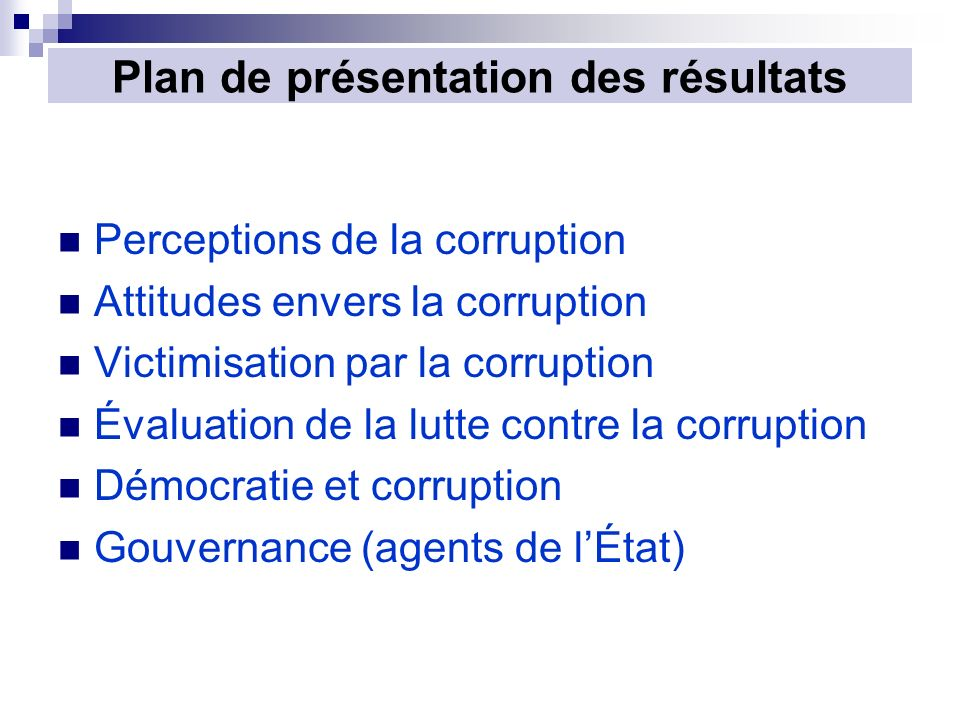 Plan de présentation des résultats