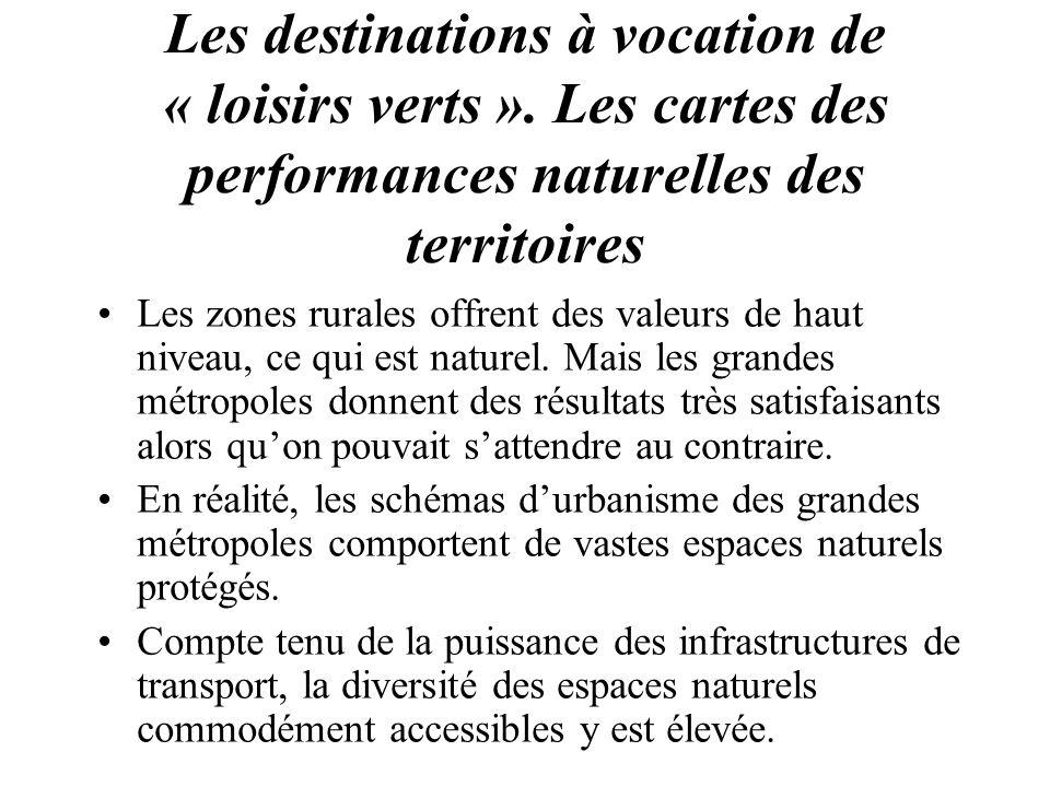 Les destinations à vocation de « loisirs verts »
