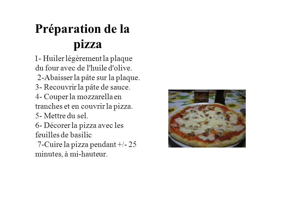 Préparation de la pizza