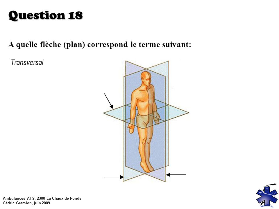 Question 18 A quelle flèche (plan) correspond le terme suivant: