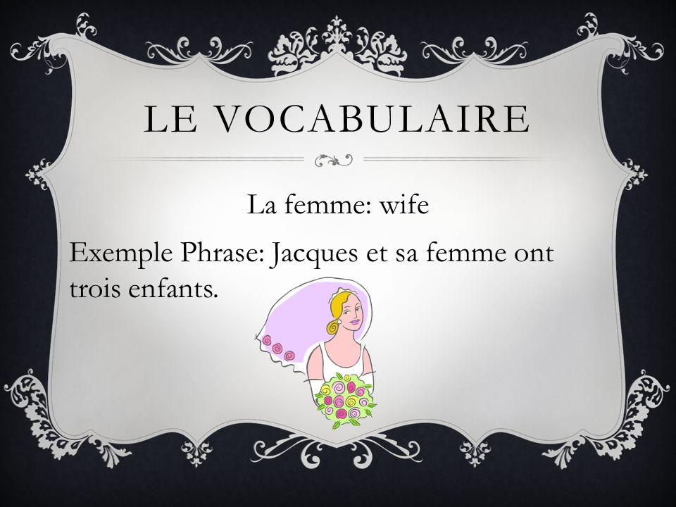 La femme: wife Exemple Phrase: Jacques et sa femme ont trois enfants.
